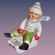 Vintage Goebel Hummel Boy Riding Sleigh Sweet Figurine Miniature Dollhouse