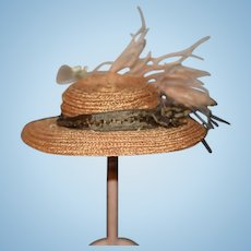 Old Doll Straw Hat Flowers Feathers Ribbon Fashion Doll Wonderful!!