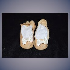 Old Oil Cloth Doll Shoes with Bows and Heels Sweet!