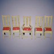 Old Doll Tin Miniature Dollhouse Chair Set Too Cute!