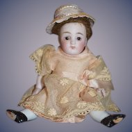 Antique Doll Miniature All Bisque Jointed Sweet Dress and Hat Dollhouse