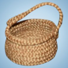 Old Miniature Woven Basket w/ Handle for Doll Dollhouse
