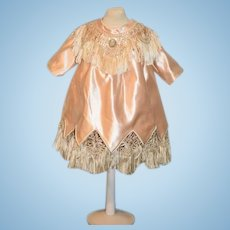 Old Doll Hand Made Dress W/ Fringe Fancy