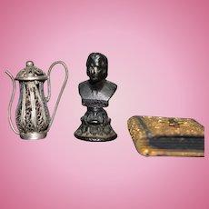 Old Doll Miniature Dollhouse Lot Old Metal Bust Miniature Rosary Book and Ornate Miniature Tea Pot