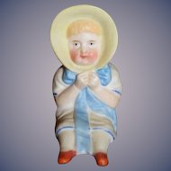 Antique Doll Miniature Figurine Staffordshire Bonnet Girl All Bisque Dollhouse