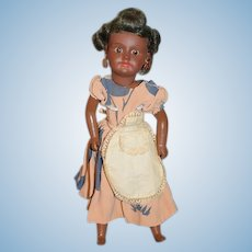 Old Doll Black Cabinet Size French SFBJ Paris Painted Bisque Doll