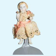 Antique Doll Miniature China Head Jointed Dollhouse All Bisque