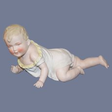 Large Old Piano Bisque Doll Figurine Baby Crawling