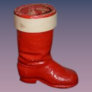 Old Papier Mache Santa Boot Stocking Christmas Sweet Candy Container