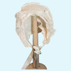 Old Wonderful Lace Doll Bonnet Hat Split Back Ties Bows SWEET!!