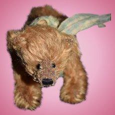Artist Miniature Mohair Teddy Bear on All Fours Jointed Dollhouse