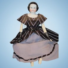 Antique China Head Center Part Large Doll Fancy