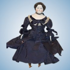 Gorgeous Taffeta Doll Dress Two Piece Outfit Lace Velvet W/ Center Part China Head Doll