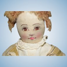 Babyland Rag Doll with Hand Painted Face W/ Old Writing Silk Painted Face Cloth Doll