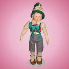 """Lenci German Dressed Felt Boy Doll 10"""""""