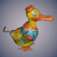 Vintage Tin Litho J. Chein Wind Up Duck Toy