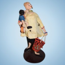 Vintage Roldan Klumpe Shopper with Child doll