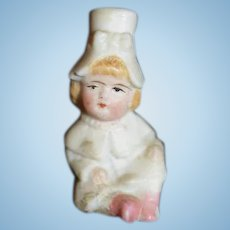 All Bisque Miniature Girl Figurine
