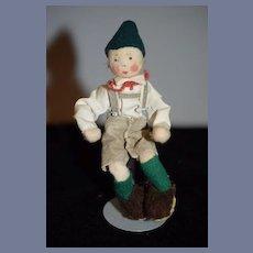 Vintage painted cloth German Dressed Miniature doll