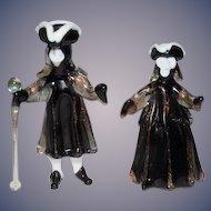 Vintage Doll Set Miniature Venetian Glass Masquerade  Party For Dollhouse WONDERFUL