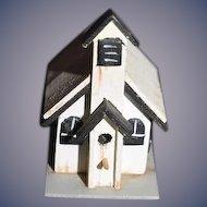 Doll Miniature Artist Old Wood Church Dollhouse signed Hank Taylor 1992