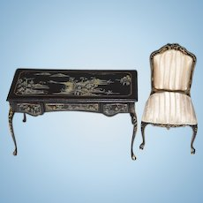 Wonderful Miniature Painted Desk Ornate W/ Fancy Chair upholstered Dollhouse Bespaq