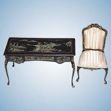 Wonderful Miniature Painted Desk Ornate W/ Fancy Chair upholstered Dollhouse Bespaq