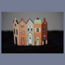Wonderful Doll Miniature Folding Screen Wood In Shape of Row Houses Signed Dated Dollhouse