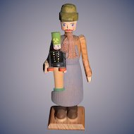 Vintage German Wood Carved Man Holding a Toy Soldier Miniature Dollhouse