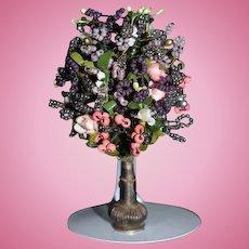 Vintage Miniature Doll Dollhouse Vase W/ Beaded Flower Arrangement