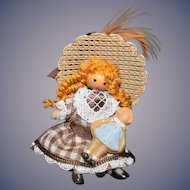 Artist Miniature Doll Holding Doll Dollhouse Sweet