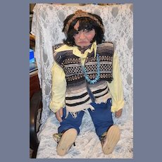 """HUGE Hand Carved Wood Indian Doll AMAZING 33"""" Tall Jointed"""