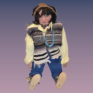 "HUGE Hand Carved Wood Indian Doll AMAZING 33"" Tall Jointed"