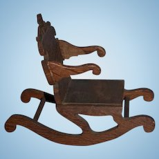 Old Wood Doll Hand Made Carved Rocking Chair Miniature Unusual