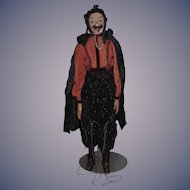 Old Doll Papier Mache Large Puppet Man Dracula