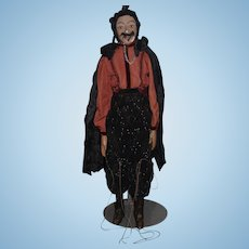 Old Doll Papier Mache Large Puppet Man Dracula