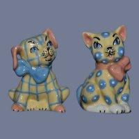 Vintage Cat & Dog Salt and Pepper Shakers Set Ceramic Arts Studio Madison Wisconsin Figurine Adorable Pattern