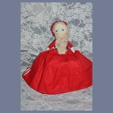 Vintage Topsy Turvy  Santa Clause Mrs. Claus and Rudolph Cloth Doll