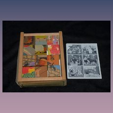Old Wood Swiss Puzzle Blocks Fairy Tales Klotzli-Puzzle 12 Blocks Litho