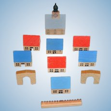 Old German Wood Miniature Houses Church Doll Set