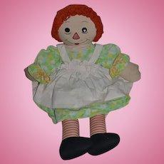 Vintage Large Doll Raggedy Ann Cloth Rag Doll Sweet