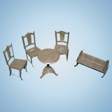 Old Doll Tin Miniature Dollhouse Set Table Chairs Cradle