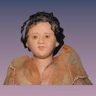 Old Doll Unusual Terra Cotta Lady W/ Glass Eyes