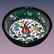Handmade Green Miniature Bowl Signed