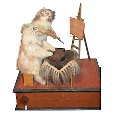Antique Doll Automaton Wind Up Mechanical Cats Cat Playing Musical Instruments WONDERFUL