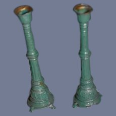 Old Miniature Teal Metal Candlestick Holders Dollhouse
