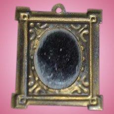 Old Doll Dollhouse Miniature Gold Frame Mirror