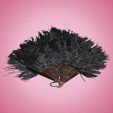 Vintage Doll Black Feathered Fashion Fan
