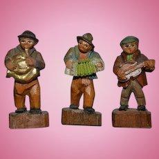 Miniature Wood Carved Folk Figures Dollhouse