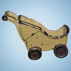 Vintage Yellow Miniature Cast Iron Dollhouse Baby Carriage